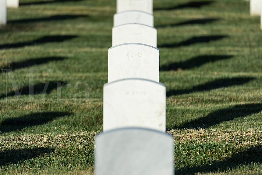 Grave markers of veteran soldiars, Arlington Cemetery, Virginia, USA