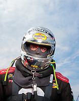 Sep 1, 2019; Clermont, IN, USA; NHRA funny car driver Matt Hagan during qualifying for the US Nationals at Lucas Oil Raceway. Mandatory Credit: Mark J. Rebilas-USA TODAY Sports