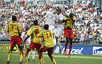 Clarence Goodson (3) and Chad Marshall (4) head the ball over Grenada players during the First Round of the 2009 CONCACAF Gold Cup at Qwest Field in Seattle, Washington on July 4, 2009.