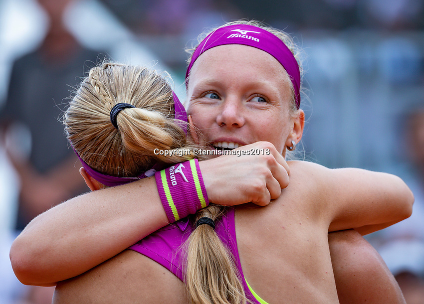 Paris, France, 01 June, 2018, Tennis, French Open, Roland Garros, Womans Doubles : Kiki Bertens (NED) (R) and Johanna Larsson (SWE) celebrate their win<br /> Photo: Henk Koster/tennisimages.com