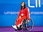 Lima, Peru -  28/August/2019 -  Krystal Shaw takes the silver medal in the women's 50m freestyle S7 at the Parapan Am Games in Lima, Peru. Photo: Dave Holland/Canadian Paralympic Committee.