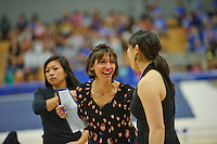 LOS ANGELES, CA - February 5, 2012:  Stanford head coach Kristen Smyth during competition against the UCLA Bruins at the Wooden Center.   UCLA defeated Stanford, 197.250 - 196.450.