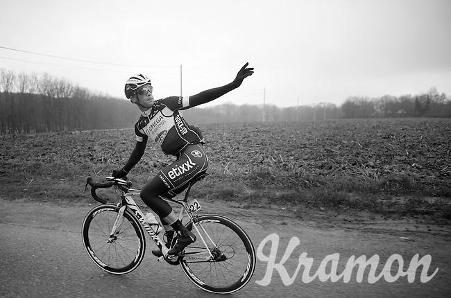 Iljo Keisse (BEL) running on empty & needing some assistance<br /> <br /> Omloop Het Nieuwsblad 2014
