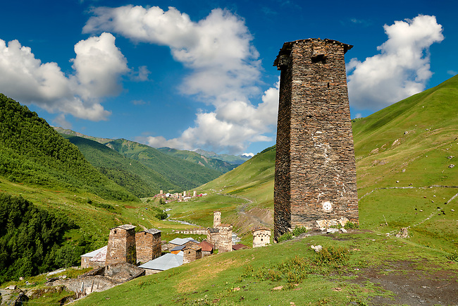 Stone medieval Svaneti tower of Queen Tamar's Castle,  Chazhashi, Ushguli, Upper Svaneti, Samegrelo-Zemo Svaneti, Mestia, Georgia. Queen Tamar of Georgia reigned from 1184–1213. The Tamar castle originally had 4 defensive stone towers, of which one survives,  connected by a curtain wall. The castles 3 other towers were destroyed by the Soviets in the 1930's. At 2,200 m (7217 ft) above sea level in the Caucasus mountains Ushguli is the highest inhabited village in Europe. Chazhashi has 13 well preserved stone Svanetian defensive tower houses attached to stone family houses. A UNESCO World Heritage Site.