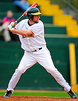 30 April 2009: University of Vermont Catamounts' first baseman Ethan Paquette, a Junior from West Burke, VT, at bat against the Siena College Saints at Historic Centennial Field in Burlington, Vermont. The Saints outscored the Catamounts 11-10 in the afternoon matchup. The Catamounts are playing their last season of baseball, as the program has been marked for elimination due to budgetary constraints at the University. Mandatory Photo Credit: Ed Wolfstein Photo