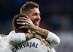 Daniel Carvajal Ramos of Real Madrid celebrates with teammate Sergio Ramos during the La Liga 2018-19 match between Real Madrid and Getafe CF at Estadio Santiago Bernabeu on August 19 2018 in Madrid, Spain. Photo by Diego Souto / Power Sport Images