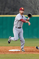Second baseman Chad Smith (13) of the Winthrop University Eagles turns a double play in a game against the University of South Carolina Upstate Spartans on Wednesday, March 4, 2015, at Cleveland S. Harley Park in Spartanburg, South Carolina. Upstate won, 12-3. (Tom Priddy/Four Seam Images)