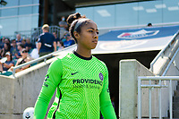 CARY, NC - SEPTEMBER 12: Abby Smith #35 of the Portland Thorns heads to the bench before a game between Portland Thorns FC and North Carolina Courage at WakeMed Soccer Park on September 12, 2021 in Cary, North Carolina.