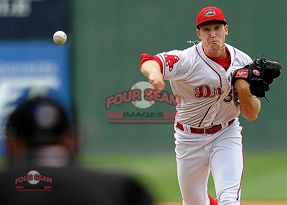 Pitcher Kuehl McEachern of the Greenville Drive in a game against the Asheville Tourists on Friday, April 24, 2015, at Fluor Field at the West End in Greenville, South Carolina. (Tom Priddy/Four Seam Images)