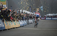 Victory for Mathieu Van der Poel (NED/Beobank-Corendon) at the finish<br /> <br /> 2016 CX UCI World Cup Zeven (DEU)