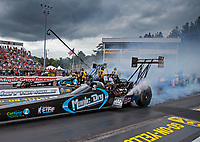 Sep 15, 2018; Mohnton, PA, USA; NHRA top fuel driver Dom Lagana (near) alongside Scott Palmer during qualifying for the Dodge Nationals at Maple Grove Raceway. Mandatory Credit: Mark J. Rebilas-USA TODAY Sports
