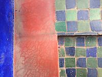 Tile walkway detail, the Majorelle Garden, Marrakech, Morocco