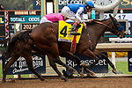"""ARCADIA, CA  SEPTEMBER 27:  #4 Bast, ridden by John Velazquez, holds off #3 Comical, ridden by Abel Cedillo, to win the Chandelier Stakes (Grade l) """"Win and You're In Breeders' Cup Juvenile Fillies Division"""", on September 27, 2019, at Santa Anita Park in Arcadia, CA. (Photo by Casey Phillips/Eclipse Sportswire/CSM)"""