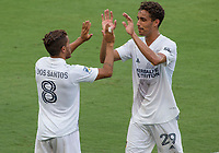 LOS ANGELES, CA - AUGUST 22: Jonathan dos Santos #8 and Ethan Zubak #29 of the LA Galaxy during a game between Los Angeles Galaxy and Los Angeles FC at Banc of California Stadium on August 22, 2020 in Los Angeles, California.