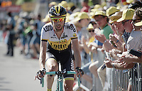 """Laurens ten Dam (NLD/LottoNL-Jumbo) finishes stage 3 after dislocating his shoulder (and having several tries of setting it again) in the massive crash and riding another 60km to the finish up the infamous Mur de Huy after that.<br /> His comment afterward: """"I didn't train for months to go home on stage 3...""""<br /> #HardAsRock<br /> <br /> stage 3: Antwerpen (BEL) - Huy (BEL)<br /> 2015 Tour de France"""
