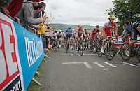 peloton up La Redoute (max 22%) with previous winners (and favourites) of the race Daniel Martin (IRL/Garmin-Sharp) and Philippe Gilbert (BEL/BMC) in the pack<br /> <br /> Liège-Bastogne-Liège 2014