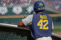 Michigan Wolverines designated hitter Jordon Nwogu (42) at the batting cage before Game 1 of the NCAA College World Series Finals on June 24, 2019 at TD Ameritrade Park in Omaha, Nebraska. Michigan defeated Vanderbilt 7-4. (Andrew Woolley/Four Seam Images)