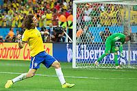 David Luiz of Brazil celebrates a goal scored by his team mate