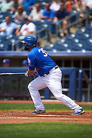 Tulsa Drillers catcher Shawn Zarraga (35) at bat during a game against the Midland RockHounds on June 3, 2015 at Oneok Field in Tulsa, Oklahoma.  Midland defeated Tulsa 5-3.  (Mike Janes/Four Seam Images)