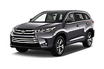 2018 Toyota Highlander LE-Plus 5 Door SUV Angular Front stock photos of front three quarter view