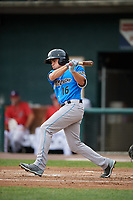 Akron RubberDucks right fielder Jodd Carter (16) follows through on a swing during a game against the Harrisburg Senators on August 18, 2018 at FNB Field in Harrisburg, Pennsylvania.  Akron defeated Harrisburg 5-1.  (Mike Janes/Four Seam Images)