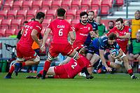9th September 2020; AJ Bell Stadium, Salford, Lancashire, England; English Premiership Rugby, Sale Sharks versus Sracens; Simon Hammersley of Sale Sharks is tackled by Tom Woolstencroft of Saracens