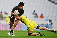 22nd May 2021; Eden Park, Auckland New Zealand; All Blacks Sevens versus Australia, Trans-Tasman Sevens;  Regan Ware is tackled