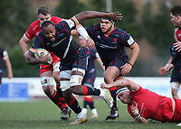 Tjiuee Uanivi of London Scottish in action during the Greene King IPA Championship match between London Scottish Football Club and Jersey at Richmond Athletic Ground, Richmond, United Kingdom on 16 December 2017. Photo by Mark Kerton / PRiME Media Images.