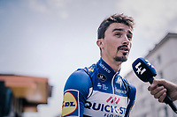 previous stage winner Julian Alaphilippe (FRA/Quick Step Floors) interviewed at the start<br /> <br /> Stage 5: Grenoble > Valmorel (130km)<br /> 70th Critérium du Dauphiné 2018 (2.UWT)