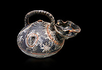 "Minoan Kamares Ware beak spouted  ""teapot"" polychrome decorations, Phaistos 1800-1650 BC; Heraklion Archaeological  Museum, black background.<br /> <br /> This style of pottery is named afetr Kamares cave where this style of pottery was first found"