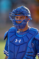 Keibert Ruiz (33) of the Oklahoma City Dodgers before the game against the Salt Lake Bees at Smith's Ballpark on August 1, 2019 in Salt Lake City, Utah. The Bees defeated the Dodgers 14-4. (Stephen Smith/Four Seam Images)