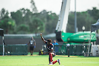 LAKE BUENA VISTA, FL - JULY 14: C.J. Sapong #9 of the Chicago Fire kneeling before the game during a game between Seattle Sounders FC and Chicago Fire at Wide World of Sports on July 14, 2020 in Lake Buena Vista, Florida.