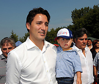 The Leader of the Liberal Party of Canada, Justin Trudeau, his wife Sophie Gregoire and  their 3 children  celebrate  La Fete de la famille in Laval.  September 6, 2015.<br /> <br /> Photo :  Agence Quebec Presse