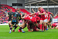 Taylor Davies of Scarlets scores his sides fifth try during the Guinness Pro14 Round 02 match between the Scarlets and Zebre Rugby at the Parc Y Scarlets Stadium in Llanelli, Wales, UK. Saturday 12 October 2019