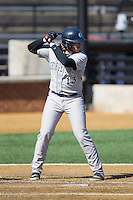 AC Carter (13) of the Georgetown Hoyas at bat against the Bucknell Bison at Wake Forest Baseball Park on February 14, 2015 in Winston-Salem, North Carolina.  The Hoyas defeated the Bison 8-5.  (Brian Westerholt/Four Seam Images)