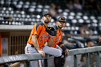 Hector Santiago (18) and Andres Angulo (1) of the AZL Giants hang out in the dugout during a game against the AZL Cubs on September 6, 2017 at Sloan Park in Mesa, Arizona. AZL Giants defeated the AZL Cubs 6-5 to even up the Arizona League Championship Series at one game a piece. (Zachary Lucy/Four Seam Images)