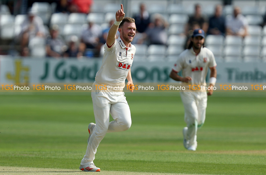 Sam Cook of Essex celebrates taking the wicket of Tom Lace  during Essex CCC vs Gloucestershire CCC, LV Insurance County Championship Division 2 Cricket at The Cloudfm County Ground on 5th September 2021