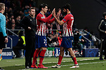 Atletico de Madrid's Alvaro Morata (L) and Diego Costa (R) during UEFA Champions League match, Round of 16, 1st leg between Atletico de Madrid and Juventus at Wanda Metropolitano Stadium in Madrid, Spain. February 20, 2019. (ALTERPHOTOS/A. Perez Meca)