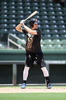 """Utility player Richie Shaffer was one of several former Clemson baseball players now in the pros who worked out this month at Fluor Field while individual team workouts were suspended during the coronavirus pandemic. He played in a """"Sandlot""""-style game on Thursday June 25, 2020. Shaffer played for Tampa Bay in 2015 and 2016 and the High Point Rockers of the Atlantic League in 2019. (Tom Priddy/Four Seam Images)"""