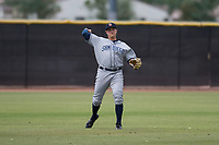 AZL Padres 1 left fielder Greg Lambert (14) makes a throw to the infield during an Arizona League game against the AZL Padres 2 at Peoria Sports Complex on July 14, 2018 in Peoria, Arizona. The AZL Padres 1 defeated the AZL Padres 2 4-0. (Zachary Lucy/Four Seam Images)