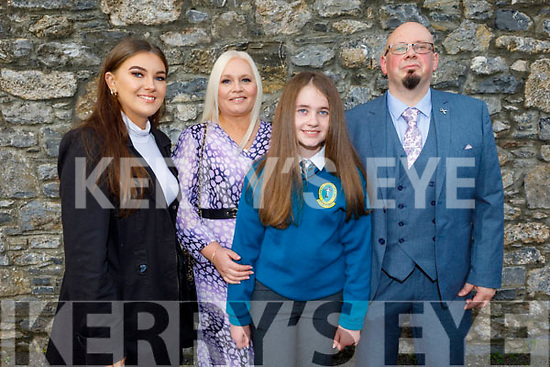 Rachel O'Connor former student of Moyderwell NS now going to Mounthawk receiving her Confirmation in St Johns Church on Sunday standing with her parents Jacinta and Kevin O'Connor and Ailish O'Sullivan