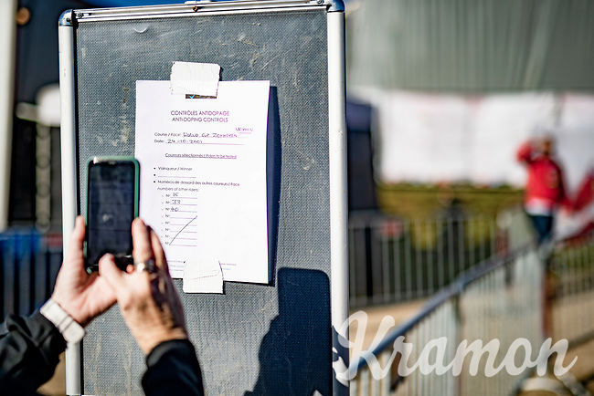Anti-Doping Control list at the finish of the Elite Women's Race<br /> 2021 UCI cyclo-cross World Cup - Zonhoven (BEL)<br /> <br /> ©kramon