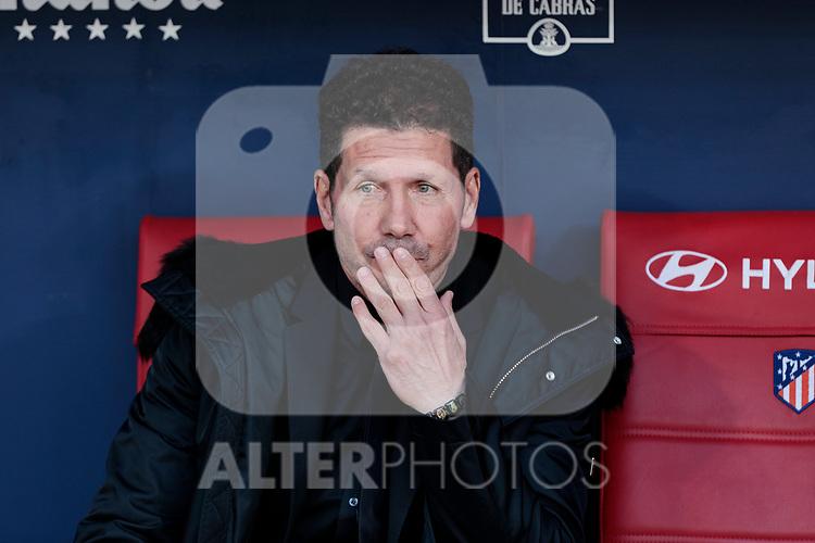 Atletico de Madrid's coach Diego Pablo Simeone during La Liga match between Atletico de Madrid and CD Leganes at Wanda Metropolitano stadium in Madrid, Spain. March 09, 2019. (ALTERPHOTOS/A. Perez Meca)