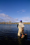 Fly fishing in the spring on the Bighorn River, Montana