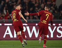 Football, Serie A: AS Roma - S.S. Lazio, Olympic stadium, Rome, January 26, 2020. <br /> Roma's captain Edin Dzeko (l) celebrates after scoring with his teammate Lorenzo Pellegrini (r) during the Italian Serie A football match between Roma and Lazio at Olympic stadium in Rome, on January,  26, 2020. <br /> UPDATE IMAGES PRESS/Isabella Bonotto