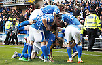 Dundee United v St Johnstone....21.11.15  SPFL,  Tannadice, Dundee<br /> Murray Davidson is pounced on by his team nates after scoring saints second goal<br /> Picture by Graeme Hart.<br /> Copyright Perthshire Picture Agency<br /> Tel: 01738 623350  Mobile: 07990 594431