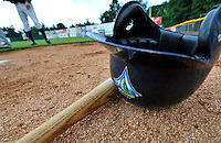 19 June 2008: Vermont Lake Monsters baseball gear lies on the bullpen dirt prior to a game against the Oneonta Tigers at historic Centennial Field in Burlington, Vermont. The Tigers defeated the Lake Monsters 13-8 in the rubber match of their three-game season opening series in Vermont...Mandatory Credit: Ed Wolfstein Photo