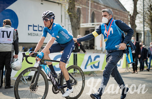 Enric Mas (ESP/Movistar) post-finish<br /> <br /> 85th La Flèche Wallonne 2021 (1.UWT)<br /> 1 day race from Charleroi to the Mur de Huy (BEL): 194km<br /> <br /> ©kramon