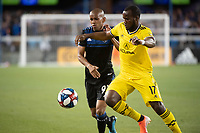 San Jose, CA - Saturday August 03, 2019: Judson #93, Romario Williams #17 in a Major League Soccer (MLS) match between the San Jose Earthquakes and the Columbus Crew at Avaya Stadium.