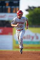 Auburn Doubledays first baseman David Kerian (21) running the bases during a game against the Batavia Muckdogs on July 10, 2015 at Dwyer Stadium in Batavia, New York.  Auburn defeated Batavia 13-1.  (Mike Janes/Four Seam Images)